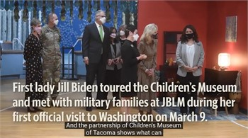 First lady Biden visits JBLM as part of first official visit to Washington